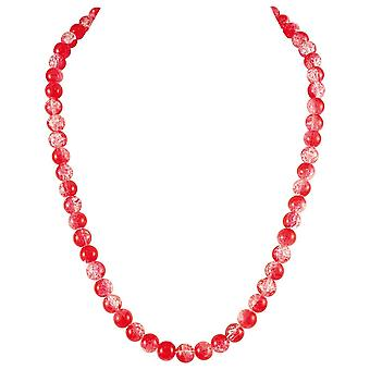 Eternal Collection Carnival Red Czech Glass Crackle Bead Silver Tone Long Necklace