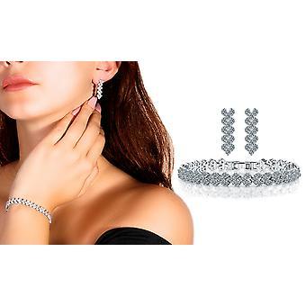 Aaa Zircon Silver Pleated Party Jewellery Set