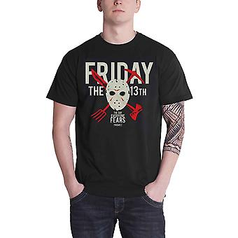 Friday The 13th T Shirt Jason Hockey mask Day Of Fear new Official Mens Black