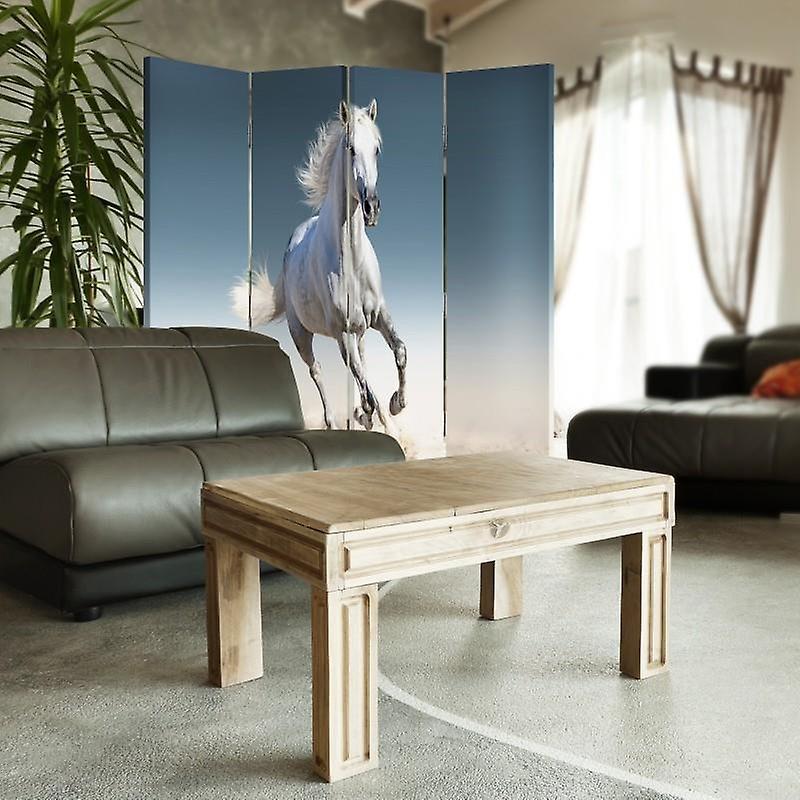 Diviseur de chambre, 4 panneaux, toile, cheval sur le sable