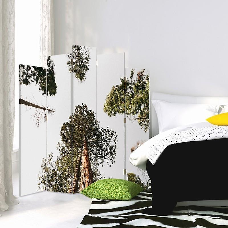 Diviseur de pièce décoratif, 5 panneaux, double-côté, toile, pin dans la perspective