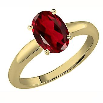 Dazzlingrock Collection 10K 9x7 MM Oval Cut Garnet Ladies Solitaire Bridal Engagement Ring, Yellow Gold