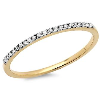 Dazzlingrock Collection 0.08 Carat (ctw) 18k Round White Diamond Dainty Anniversary Band Stackable Ring, Yellow Gold