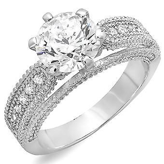 Dazzlingrock kollektion 2,50 CT damer runde cubic zirconia CZ bryllup brude Forlovelses ring