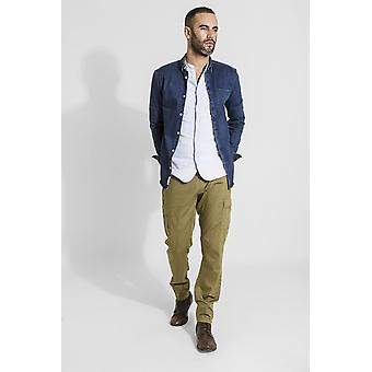 Radcliffe mens organic cotton slim fit cargo trousers - olive