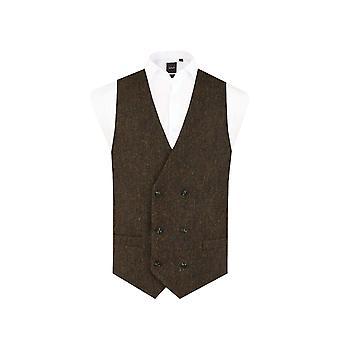 Scottish Harris Tweed mens grön Barleycorn Tweed väst Regular fit 100% ull dubbel breasted