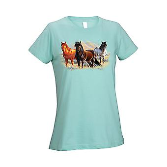 Women's T Shirt Three Horses