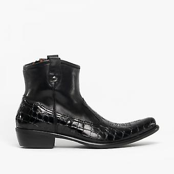 Machete Crockett Mens Leather Reptile Cuban Heel Boots Black
