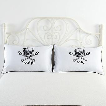 Mr. Mrs. Pillow deksel for Couples (2 i 1)-pakke 78x48cm-hvit