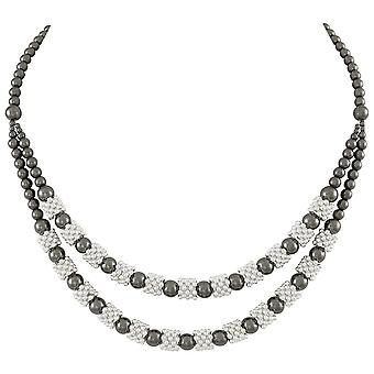 Eternal Collection Alchemy Double Row Hematite Beaded Statement Necklace