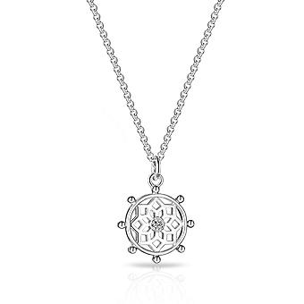 Silver chakra necklace created with swarovski crystals