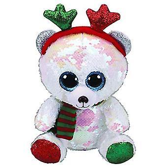 TY Flippable Sequins Mistletoe The Bear Small Beanie Boo
