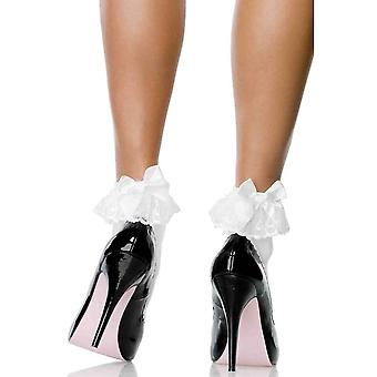 Leg Avenue Ruffled Bow Ankle Socks White