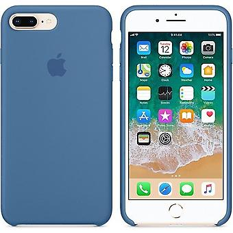 Original Packed Apple Silicone Microfiber Cover Case for iPhone 8+ Plus / 7+ - Denim Blue