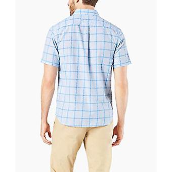 Dockers mannen ' s korte mouw prestaties seersucker shirt, blauwe wilburn, kleine
