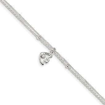 925 Sterling Silver Polished 2 strand Cubic Zirconia Fish With 1in Ext Anklet 9 Inch Jewelry Gifts for Women