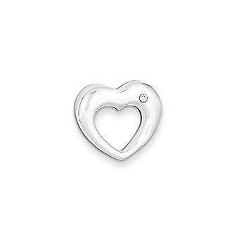 925 Sterling Silver Open Solid Hidden bail Rounded Edge Polished Love Heart With CZ Cubic Zirconia Simulated Diamond Sli
