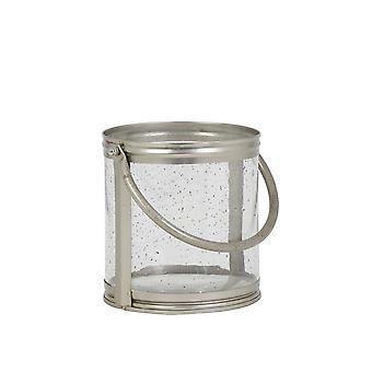 Light & Living Hurricane 20x17cm Bornes Glass Antique And Handle Silver