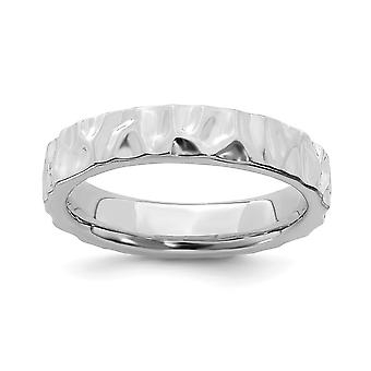 925 Sterling Silver Textured Polished Patterned Stackable Expressions Rhodium Ring Jewelry Gifts for Women - Ring Size:
