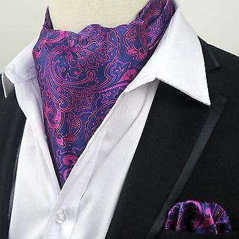 ブルー ・ ピンクのペイズリー アスコット ネクタイ ネクタイ ・ ポケット広場