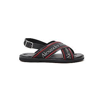 Alexander Mcqueen 604275whrwc1081 Miehet's Musta nahka sandaalit