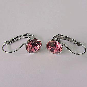 Różowe kolczyki kropla kryształ EMB7.1