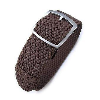 Strapcode fabric watch strap 20mm or 22mm miltat perlon watch strap, brown, sandblasted ladder lock slider buckle