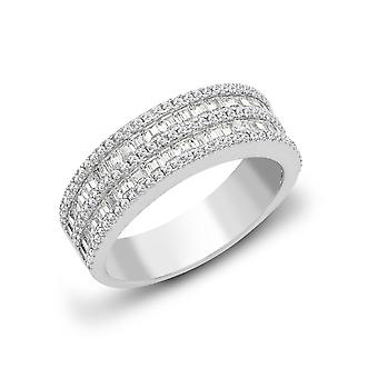 Jewelco London Solid 18ct White Gold Channel Set Baguette G SI1 0.84ct Diamond Double Decker Eternity Ring 6mm