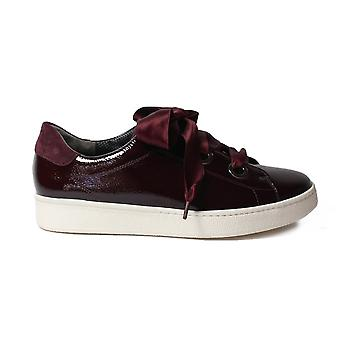 Paul Green 4539-02 Wine Patent Leather Womens Ribbon Lace Up Casual Trainer Shoes