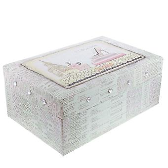 FMG Ladies -Girls Elegance Two Tiered Jewellery Box With Mirror On Inside Lid SC1711