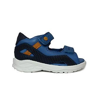 Ecco Peekaboo 751841 50455 Blue Leather Boys Open Toe Sandals