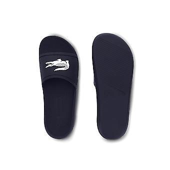 Lacoste Croco Slide Mens Fashion Beach Holiday Flip Flop Slide Navy Blue/White