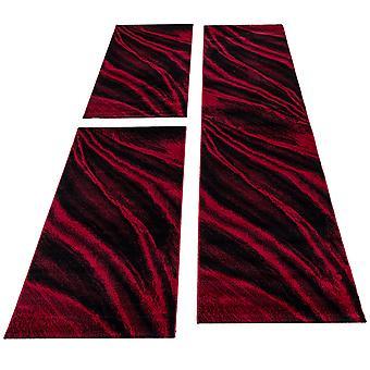 Tapijt bed grens korte flor tapijten runner set rode gevlekte 3-delige