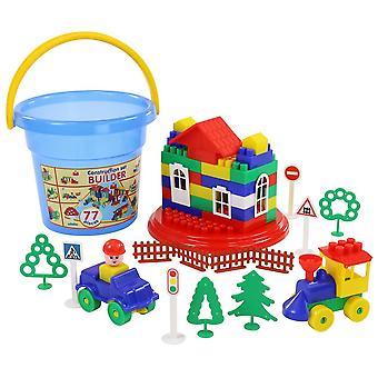 Polesie 37206, tijolos de 77 peças com balde, blocos de construção coloridos para pluging