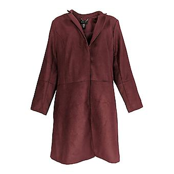 H by Halston Women's Knee Length Snap Front Coat Notch Collar Red A296756