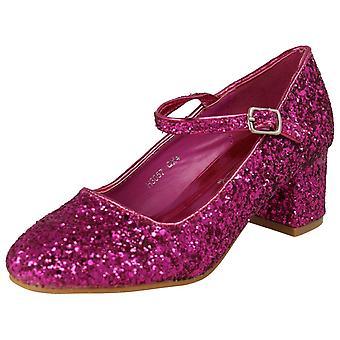 Meninas Spot On Salto Brilhante Dolly Sapatos