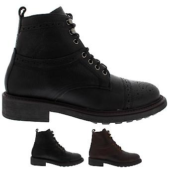 Mens H By Hudson Fernie Calf Leather Work Brogue Smart Office Ankle Boot