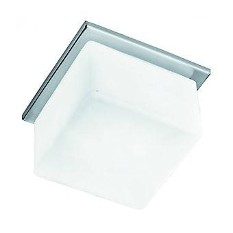 Surface Recessed Ceiling Light 10 Cm, In Satin Silver And Opal Glass