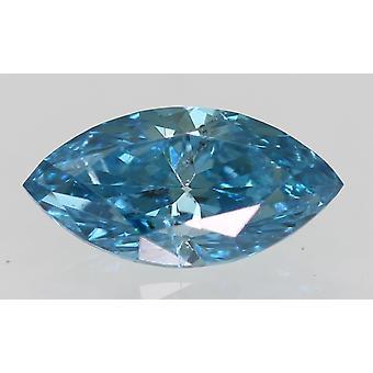 Certified 0.35 Carat Sky Blue VS1 Marquise Enhanced Natural Diamond 6.81x3.47mm