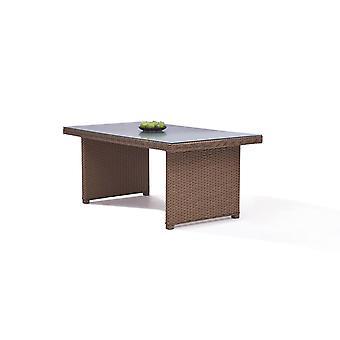 Polyrattan Table à manger Classique 180 cm, carré - caramel