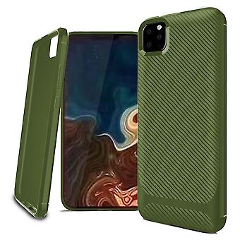 Voor iPhone 11 Pro Max Case Carbon Fiber Textuur Slim Sterke Soft Cover Groen