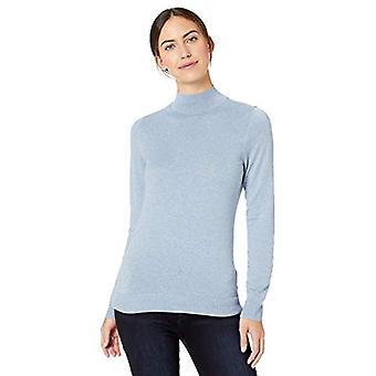 Essentials Women's Lightweight Mockneck Sweater, Light Indigo Heather,...