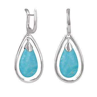 ADEN 925 Boucles d'oreilles Sterling Silver Turquoise Drope Shape (id 4434)