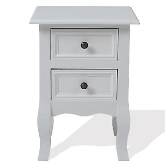 Rebecca Furniture Bedside Table 2 Glossy White Laden Wood Baroque Style 50x36x32