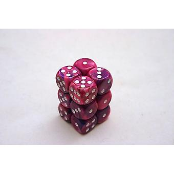 Chessex 16mm D6 Block of 12 - Festive Violet/white