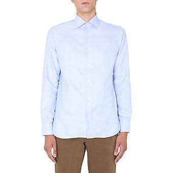 Z Zegna 805015zcsf1g Men's Light Blue Cotton Shirt