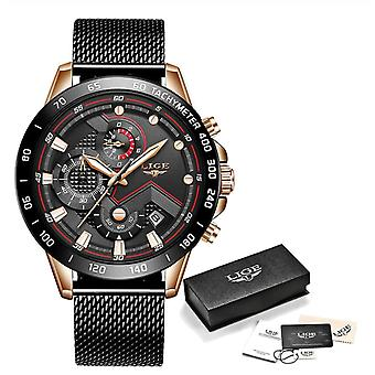 Lige Quartz Watch - Anologue Luxury Movement for Men - Stainless Steel - Black-Gold