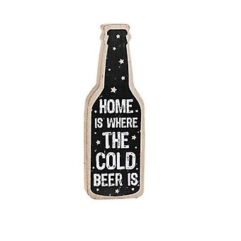 Cold Beer at Home Humourous Wooden Table Plaque - Gift for Men