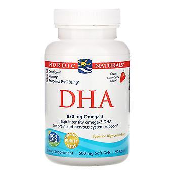 Nordic Naturals, DHA, Aardbei, 500 mg, 90 zachte gels