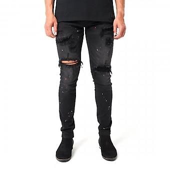 Amicci Bergamo Skinny Fit Stretch Schwarz Denim Rip & Paint Jeans